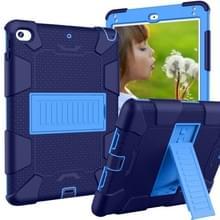 Schokbestendige tweekleurige siliconen beschermhuls voor iPad mini 2019 & 4  met houder (marineblauw + blauw)