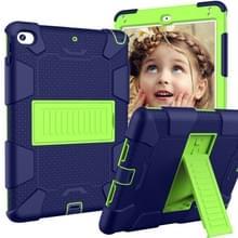 Schokbestendige tweekleurige siliconen beschermhuls voor iPad mini 2019 & 4  met houder (marineblauw + geel-groen)