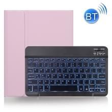 X-11BS Skin Plain Texture Afneembare Bluetooth-toetsenbordhoes voor iPad Pro 11 inch 2020 / 2018  met Pen Slot & Backlight (Roze)