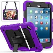 Schokbestendige kleurrijke silicagel + PC beschermende case voor iPad mini 2019/Mini 4  met houder & schouderband & hand riem & pen sleuf (paars)