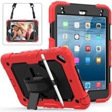 Schokbestendige kleurrijke silicagel + PC beschermende case voor iPad mini 2019/Mini 4  met houder & schouderband & hand riem & pen sleuf (rood)