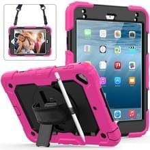Schokbestendige kleurrijke silicagel + PC beschermende case voor iPad mini 2019/Mini 4  met houder & schouderband & hand riem & pen sleuf (Rose rood)