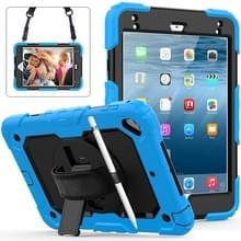 Schokbestendige kleurrijke silicagel + PC beschermende case voor iPad mini 2019/Mini 4  met houder & schouderband & hand riem & pen sleuf (baby blauw)