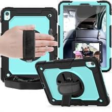 Schokbestendige zwarte silicagel + kleurrijke PC beschermende case voor iPad Pro 11 inch (2018)  met houder & schouderriem & hand riem & pen sleuf (baby blauw)