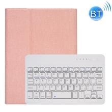 RK405 Voor iPad mini 5 / 4 Silk Texture Afneembaar Plastic Bluetooth Keyboard Lederen hoes met Pen Slot & Stand Functie (Rose Gold)