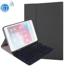 RK405D voor iPad Mini 5/4 achtergrondverlichting versie zijde textuur afneembare kunststof Bluetooth Keyboard lederen cover met stand & pen slot functie (zwart)