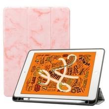 Marmeren textuur patroon horizontale Flip lederen case voor iPad Air 2019 10 5 inch  met drie-opvouwbare houder & Pensleuf & slaap/Wake-up functie (roze)
