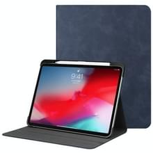Effen kleur koeienhuid textuur horizontale Flip PU lederen case voor iPad Pro 11 inch (2018)  met houder & slaap/Wake-up functie (donkerblauw)