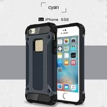 Harde Armor TPU + PC combinatie Case voor iPhone iPhone SE & 5 & 5s (donkerblauw)