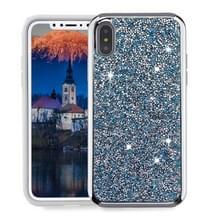 Voor iPhone X Diamond serie galvaniseren PC TPU beschermende Case (blauw)