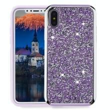Voor iPhone X Diamond serie galvaniseren PC TPU beschermende Case (paars)