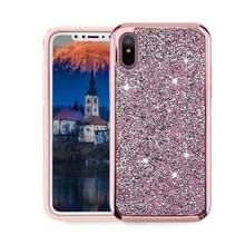 Voor iPhone X Diamond serie galvaniseren PC TPU beschermende Case (Rose Gold)
