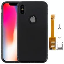 Kumishi 2 in 1 Dual SIM Card Adapter + TPU Case met SIM-kaarthouder / SIM-kaart Pin voor iPhone X  Dual Card één Standby(Black)