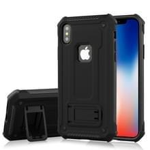 Voor iPhone X Ultra-thin Shockproof TPU + PC terug beschermhoes met houder (zwart)