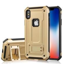 Voor iPhone X Ultra-thin Shockproof TPU + PC terug beschermhoes met houder (goud)