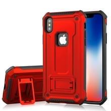 Voor iPhone X Ultra-thin Shockproof TPU + PC terug beschermhoes met houder (rood)