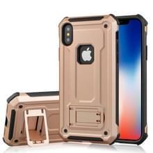 Voor iPhone X Ultra-thin Shockproof TPU + PC terug beschermhoes met houder (Rose Gold)