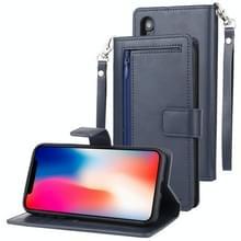 KWIK GOOSPERY afneembare dagboek horizontale Flip lederen draagtas met houder & kaartsleuven & rits & portemonnee voor iPhone XR (marineblauw)