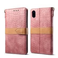 Splicing kleur krokodil textuur PU horizontale Flip lederen case voor iPhone XS Max  met portemonnee & houder & kaartsleuven & Lanyard (roze)