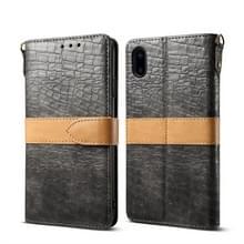 Splicing kleur krokodil textuur PU horizontale Flip lederen case voor iPhone XS Max  met portemonnee & houder & kaartsleuven & Lanyard (grijs)