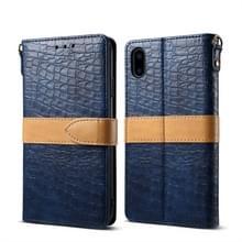 Splicing kleur krokodil textuur PU horizontale Flip lederen case voor iPhone XS Max  met portemonnee & houder & kaartsleuven & Lanyard (blauw)