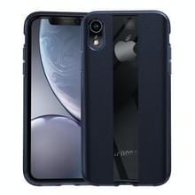 Anti-slip leer + TPU beschermhoes voor iPhone XR (blauw)