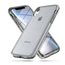 Schokbestendige Terminator stijl glitter poeder beschermer Case voor iPhone XR (grijs)