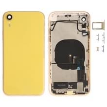 Batterij achterklep montage (met Zijknop & luidspreker & motor & camera lens & kaart lade & aan/uit-knop + volume knop + Oplaadpoort + signaal Flex-kabel & draadloze oplaad module) voor iPhone XR (geel)