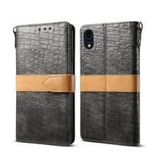 Splicing kleur krokodil textuur PU horizontale Flip lederen case voor iPhone XR  met portemonnee & houder & kaartsleuven & Lanyard (grijs)