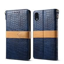 Splicing kleur krokodil textuur PU horizontale Flip lederen case voor iPhone XR  met portemonnee & houder & kaartsleuven & Lanyard (blauw)