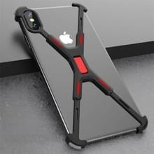 Schokbestendige metalen blote frame beschermhoes voor iPhone X/XS (zwart rood)