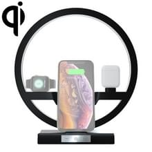 N38 QI verticale snelle draadloze oplader voor mobiele telefoons & Apple Watch & AirPods  met LED-lampje (zwart)
