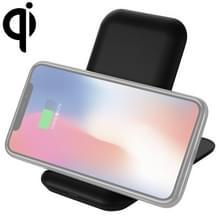 Q800 QI drie spoel verticaal opvouwbare draadloze oplader met mobiele telefoon houder (zwart)