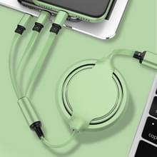 3.5A Liquid Silicone 3 in 1 USB naar USB-C / Type-C + 8Pin + Micro USB Intrekbare datasyn oplaadkabel (Groen)