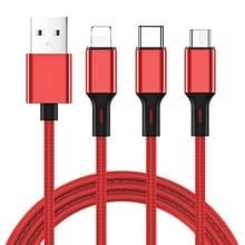 JOYROOM S-L422 Prime Series 3 in 1 USB naar 8 pin + USB-C/type-C + Micro USB-oplaadkabel  lengte: 1 2 m (rood)