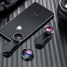 ROCK RCB0754 3 in 1 120 graden groothoek + 230 graden fisheye + 15X macro universele mobiele telefoon lens set (zwart)