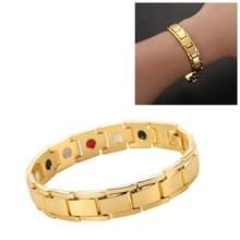 Mannen afneembare Titanium staal magnetische therapie armband sieraden (goud)