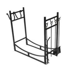 [Amerikaans pakhuis] Metalen brandhouthouder met gereedschap  grootte: 76x74x33cm