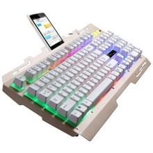 ZGB G700 104 toetsen USB-bekabelde mechanische gevoel RGB-achtergrondverlichting metalen Panel schorsing Gaming toetsenbord met telefoon Holder(Gold)
