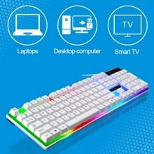 ZGB G21 1600 DPI Professional Wired Colorful Backlight Mechanical Feel Suspension Keyboard + Optical Mouse Kit for Laptop  PC(White)