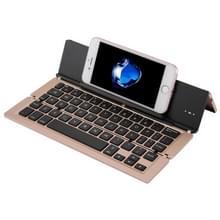 F18 Ultra-slim Oplaadbare opvouwbare 58 sleutels blauwtooth draadloos toetsenbord met houder (Goud)