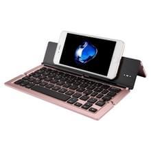 F18 Ultra-slim Oplaadbare opvouwbare 58 sleutels blauwtooth draadloos toetsenbord met houder (Rose Goud)