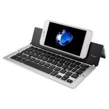 F18 Ultra-slim Oplaadbare opvouwbare 58 sleutels blauwtooth draadloos toetsenbord met houder (zilver)