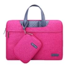 15.4 inch Cartinoe Business Series Exquisite Zipper Portable Handheld Laptop Bag with Independent Power Package for MacBook  Lenovo and other Laptops  Internal Size:35.0x24.0x3.0cm(Magenta)