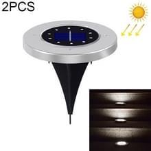 2 PCS 10 LED's Solar Powered Buried Light Onder grondlamp IP65 Waterdicht Outdoor Garden Street Light (Wit Licht)