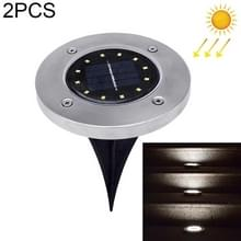 2 PCS 12 LED's Solar Powered Buried Light Onder grondlamp IP65 Waterdicht Outdoor Garden Street Light (Wit Licht)