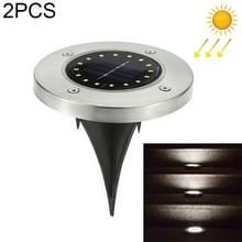 2 PCS 16 LED's Solar Powered Buried Light Onder grondlamp IP65 Waterdicht Outdoor Garden Street Light (Wit Licht)