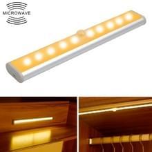2W 10 LEDs warm wit licht breedbeeld intelligent menselijk lichaam sensor licht LED gang kast licht  batterij versie