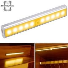 1.8 w 10 LEDs warm wit licht breedbeeld intelligent menselijk lichaam sensor licht LED gang kast licht  batterij versie