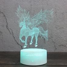 Verspreid vleugels Unicorn vorm creatieve zwarte basis 3D kleurrijke decoratieve nachtlampje bureau lamp  touch versie